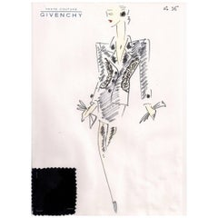 Givenchy Croquis of a Black Evening Suit with Attached Fabric Swatch