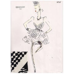 Givenchy Croquis of a Black and White Cocktail Dress with Attached Fabric Sample