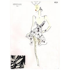 Givenchy Croquis of a Black and White Cocktail Dress with Attached Fabric Swatch