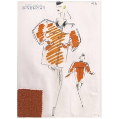 Givenchy Croquis of a Burnt Sienna Coat with Attached Fabric Sample