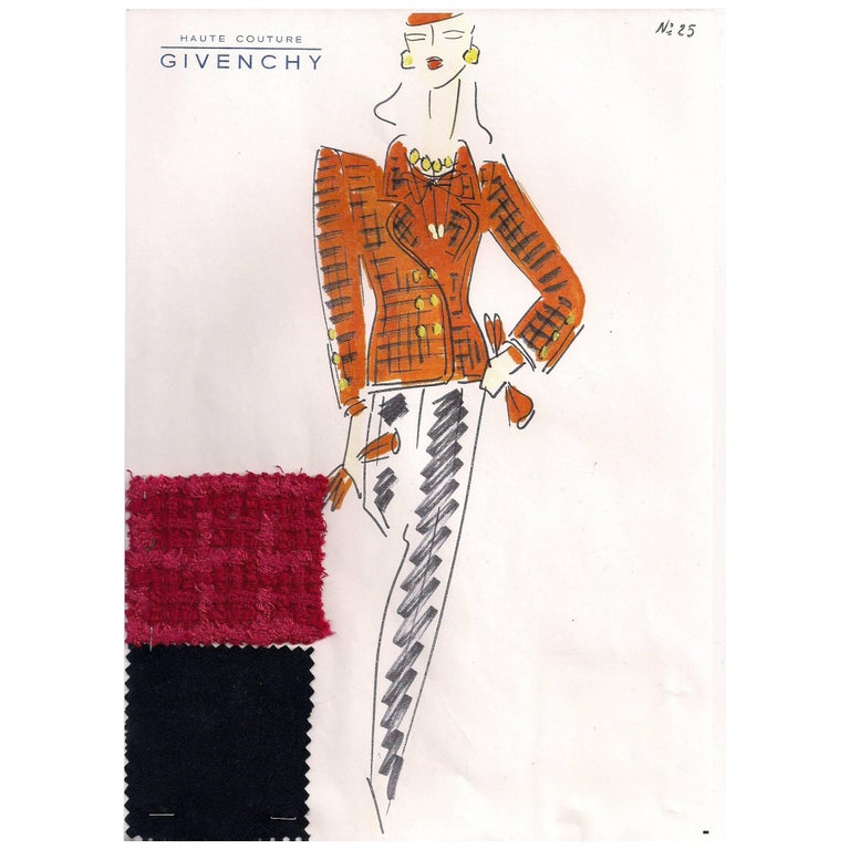 Givenchy Croquis of a Red Orange Jacket and Pants with Attached Fabric Sample