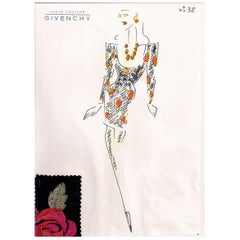 Givenchy Croquis of a Floral Lame Cocktail Dress with Attached Fabric Swatch