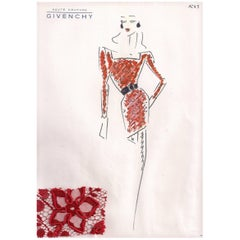 Givenchy Croquis of a Red Lace Cocktail Dress