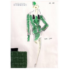 Givenchy Croquis of a Skirt Suit with Attached Fabric Sample