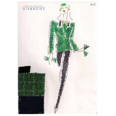 Givenchy Croquis of a Jacket and Pants with Attached Fabric Swatch