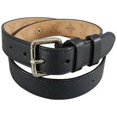 Louis Vuitton Black Perforated Monogram Mahina Leather Belt