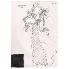 Givenchy Croquis of an Evening Gown with Bows with Attached Fabric Swatch