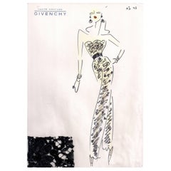 Givenchy Croquis of a Beaded Jumpsuit with Attached Fabric Swatch