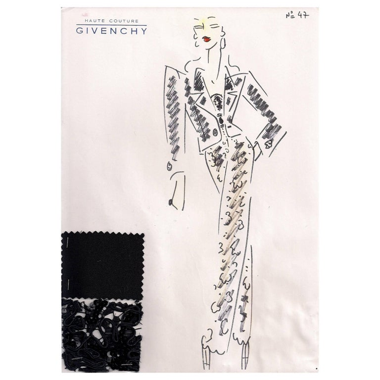 Givenchy Croquis of a Beaded Pants Ensemble with Attached Fabric Swatch