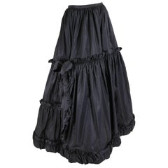 1970's Yves Saint Laurent YSL Tiered Black Silk Taffeta Skirt
