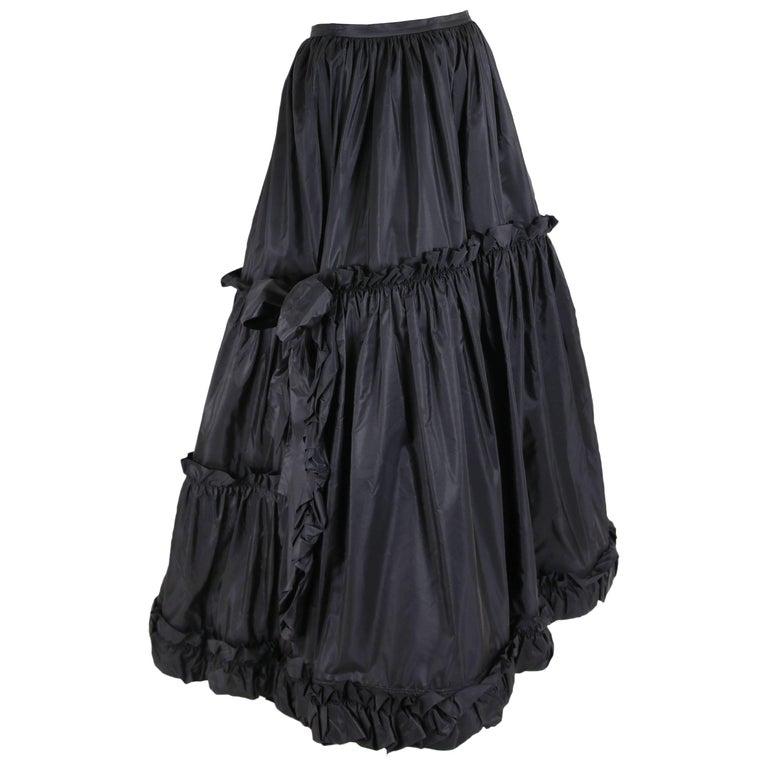 1970's Yves Saint Laurent YSL Tiered Black Silk Taffeta Skirt