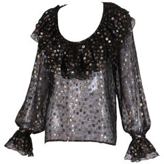 1970's Yves Saint Laurent YSL Black, Silver & Gold Polka Dot Blouse