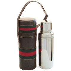 Gucci Brown Leather Thermos Tote Bag Red Green Webbing Barware 1970s