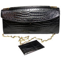 Rare and Vintage Delvaux Black Crocodile Clutch or Evening Bag / Good Condition