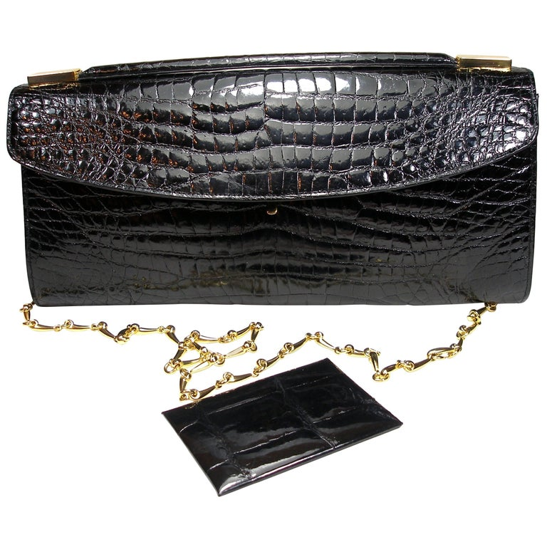 Rare and Vintage Delvaux Black Crocodile Clutch or Evening Bag / Good Condition For Sale