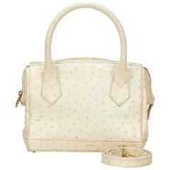 Fendi White Embossed Leather Handbag