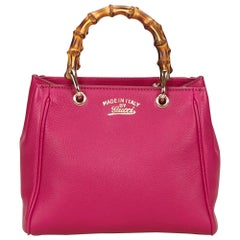 Gucci Pink Leather Bamboo Tote