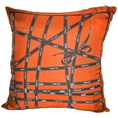 "Vintage Hermès Custom Scarf Pillow ""Gift Ribbons"""