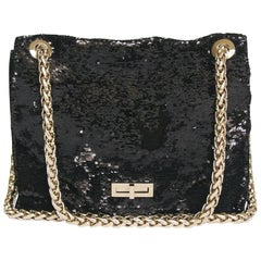 "Balmain ''Ultimate"" Flap Bag Embroidered with Black Sequins"