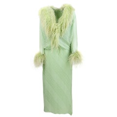 1970s Mint Green Silk Dress and Jacket Suit