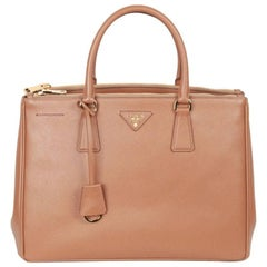 Prada Tan Caramel Saffiano Lux Leather Tote Satchel BN2274