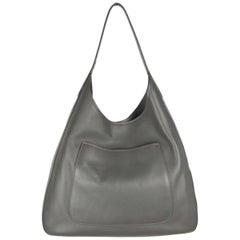 Prada Gray Vitello Corsica Leather Large Hobo Bag, 1BC009