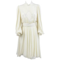 1980s Leggenda Cream White  Silk Dress