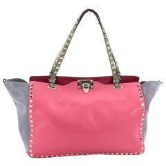 Valentino Colorblock Rockstud Tote Soft Leather Medium