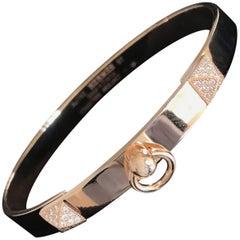 Hermes Collier de Chien CDC Diamond Bangle Bracelet Rose Gold Small Size PM