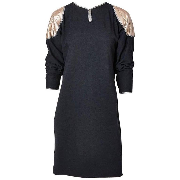 Geoffrey Beene Wool Dress with Satin Aplique