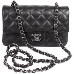 Chanel 2.55 Classic Mini Rectangular Flap Bag Crossbody - black sparkling