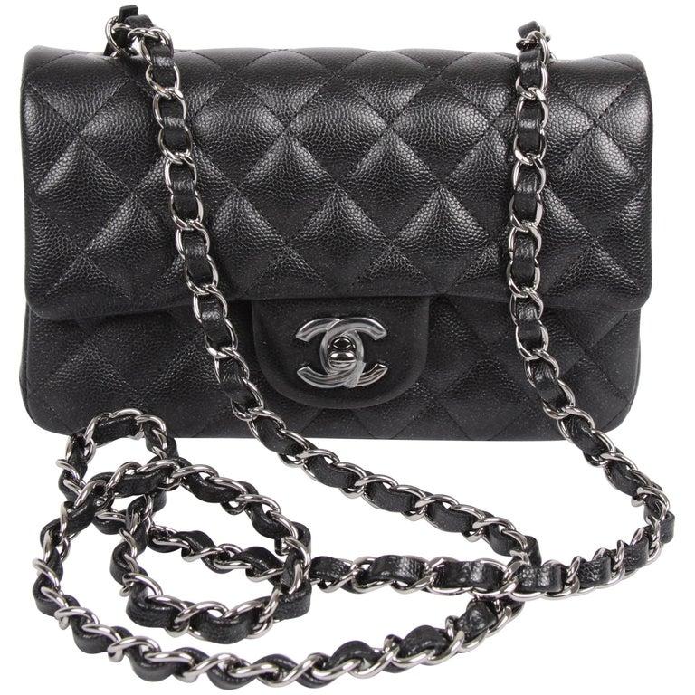 Chanel 2.55 Classic Mini Rectangular Flap Bag Crossbody - black sparkling