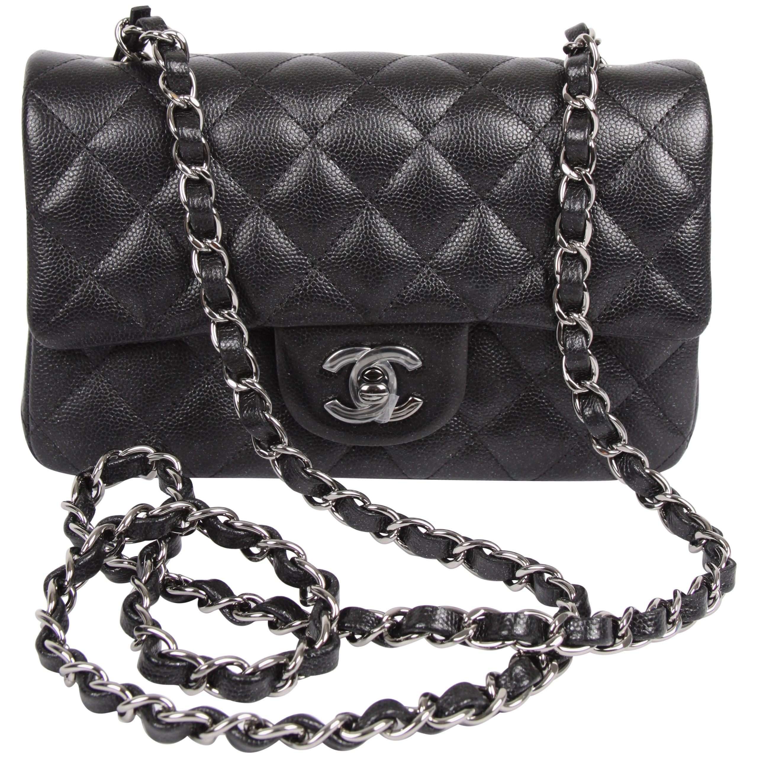 c559478d4128 Chanel 2.55 Classic Mini Rectangular Flap Bag Crossbody - black sparkling  at 1stdibs