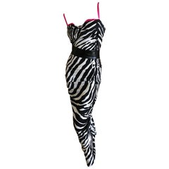 D&G Dolce & Gabbana Zebra Stripe Silk Cocktail Dress