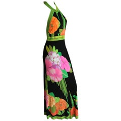 Leonard Paris for Bergdorf Goodman 1970's Silk Halter Dress