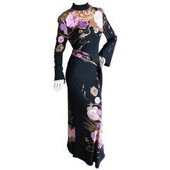 Leonard Paris for Bergdorf Goodman 1970's Silk Dress with Belt