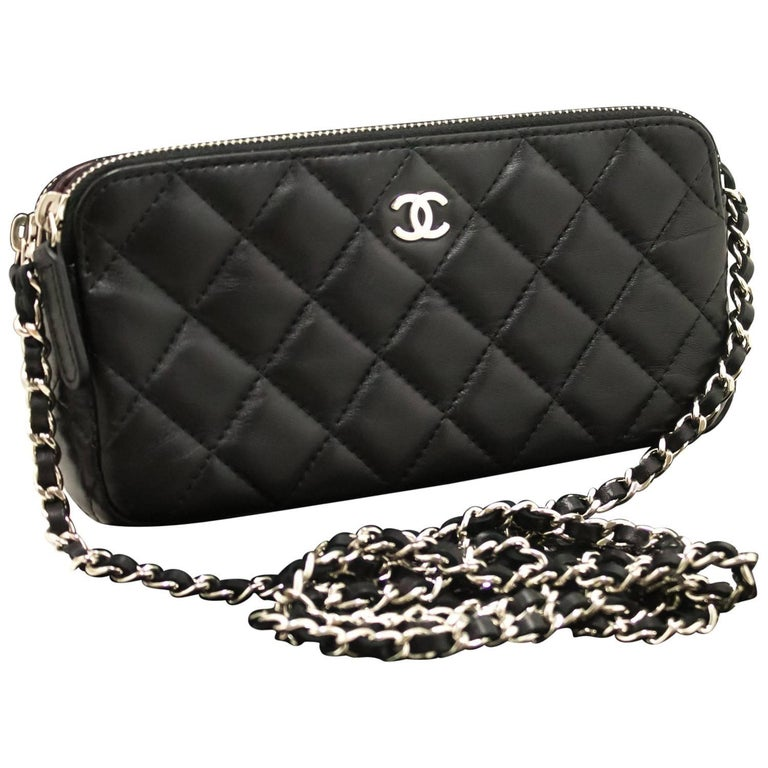 03330fe06fbc Chanel Wallet On Chain WOC Double Zip Chain Black Shoulder Bag For Sale