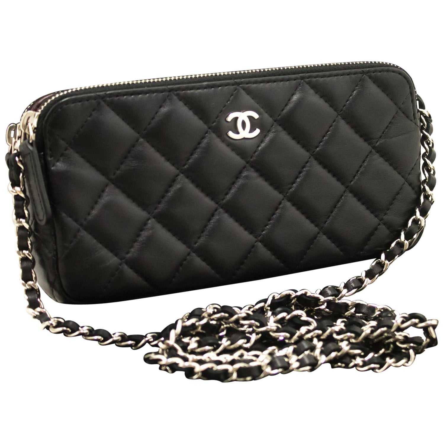 1c946fa1d741b Chanel Wallet On Chain WOC Double Zip Chain Black Shoulder Bag For Sale at  1stdibs