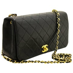 Chanel Chain Black Quilted Flap Lambskin Crossbody Shoulder Bag