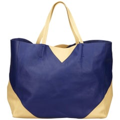 Celine Blue Leather Horizontal Cabas Tote