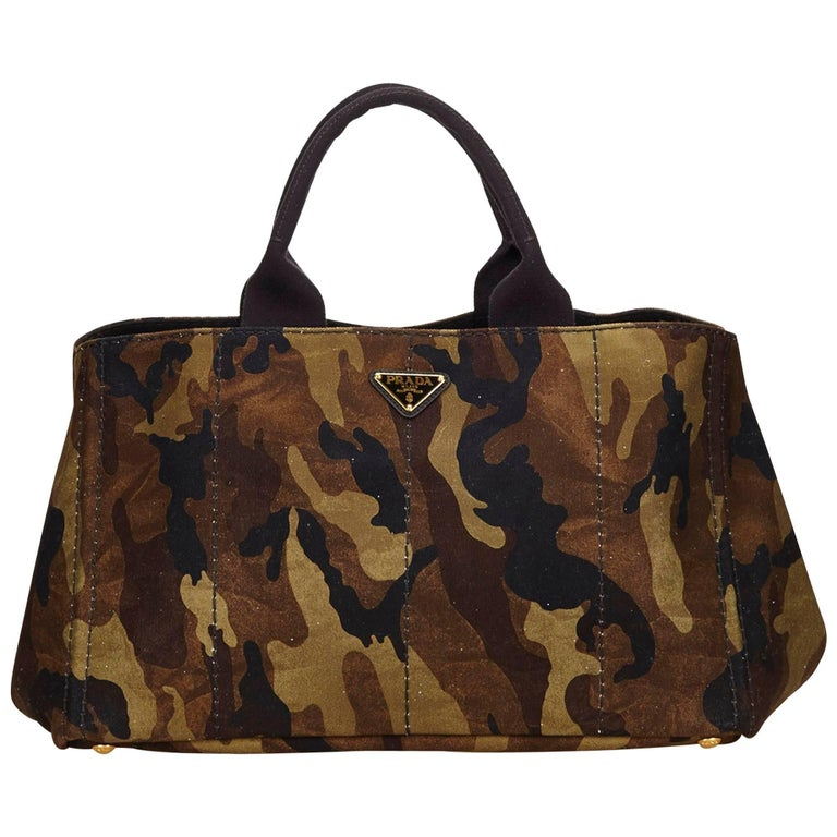 Prada Green x Brown Camouflage Canvas Canapa Tote