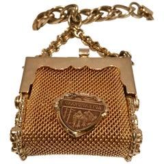 Vintage Gold Plate Metal Mesh Pocketbook Niagara Falls Charm Bracelet