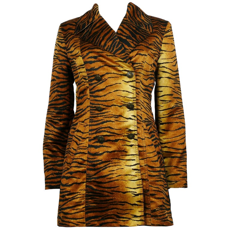 Moschino Jeans Vintage Tiger Print Double Breasted Long Jacket US Size 8