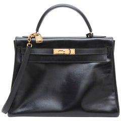 "Hermes Kelly 32 Handbag in Black Box ""Retourné"" Leather"