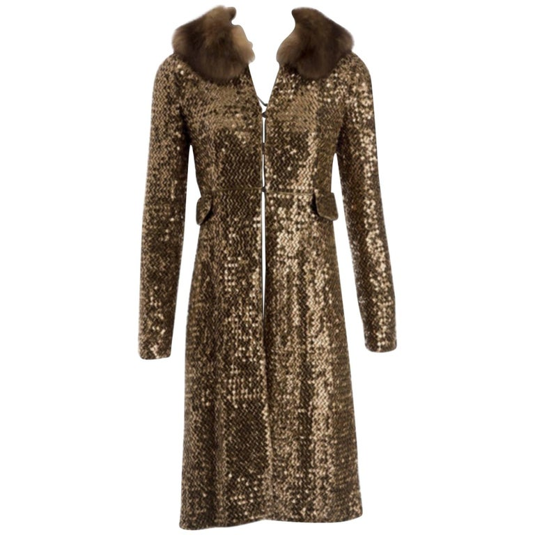 Limited Edition Spécial Piéce Fur and Sequined Dolce & Gabbana Coat Size 38 IT