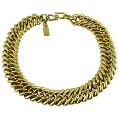 Yves Saint Laurent YSL Vintage Gold Toned Curb Chain Necklace