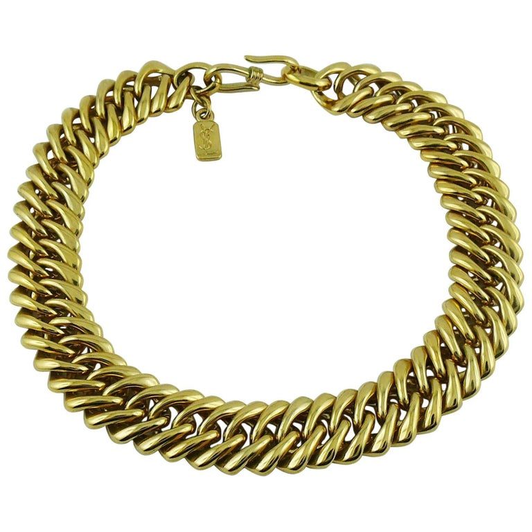 Yves Saint Laurent YSL Vintage Gold Toned Curb Chain Necklace For Sale