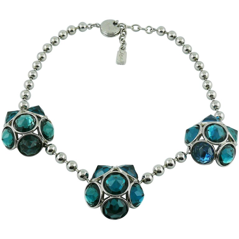 Yves Saint Laurent YSL Vintage Jewelled Silver Toned Necklace For Sale