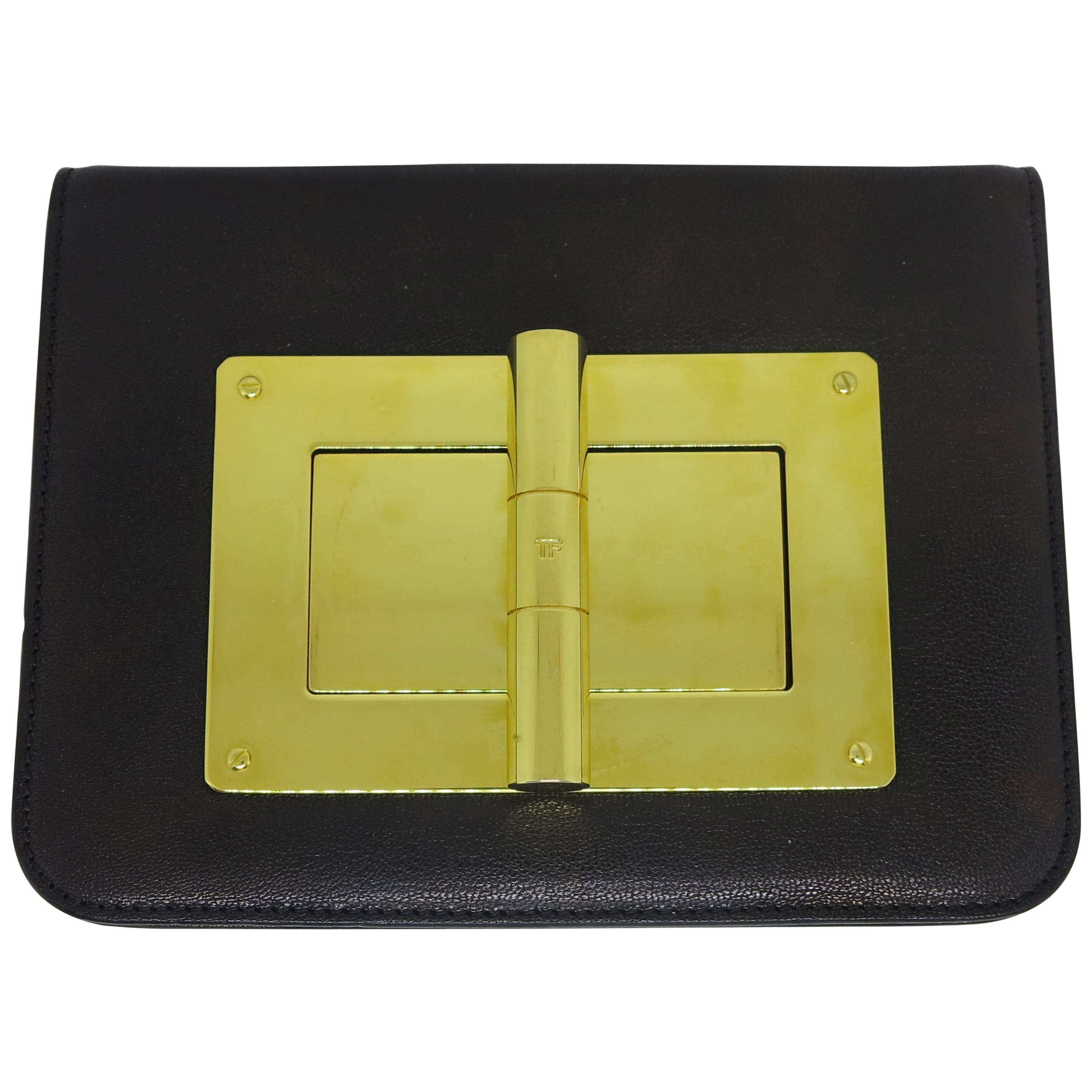 Tom Ford Natalia Medium Black Calf Leather Clutch Shoulder Bag
