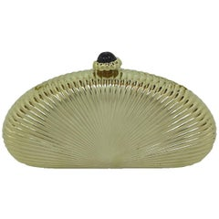 Judith Leiber gold sunburst hardside evening clutch or shoulder bag